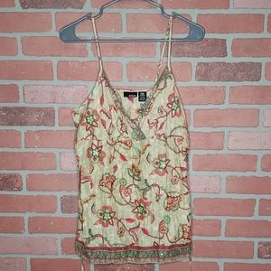 {ANA} Green floral tank-top, M